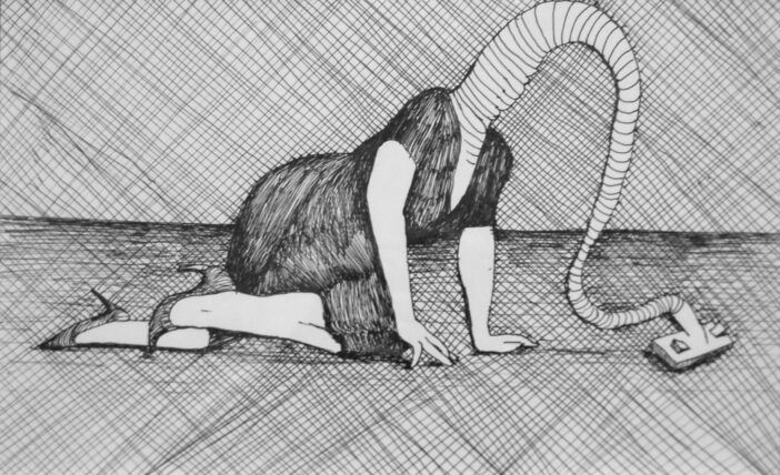 Aideen Barry, 'Hoover Housewife', 2010, Pen & ink on paper, 32 x 25cm, Butler Gallery Collection