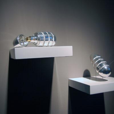 Aideen Barry, (L - R) 'Spray Grenade SG09/5#01', 'Spray Grenade SG09/5#02', Aluminium, Brass, Steel, Dimensions: 15 cm, Diameter: 8 cm each, Edition: 1/5, 2009