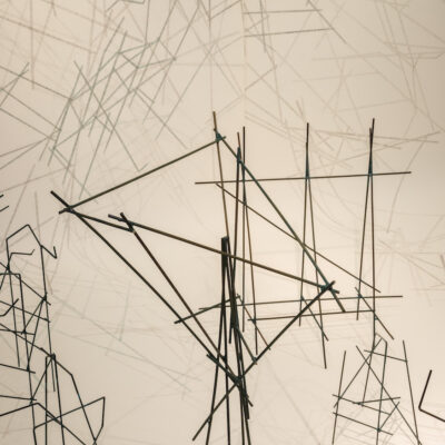 Felicity Clear, 'Here's the thing' (detail), Pencil on paper, wooden sticks, 500 x 270 cm, models variable dimensions, 2014,  Credit: Photography Roland Paschhoff