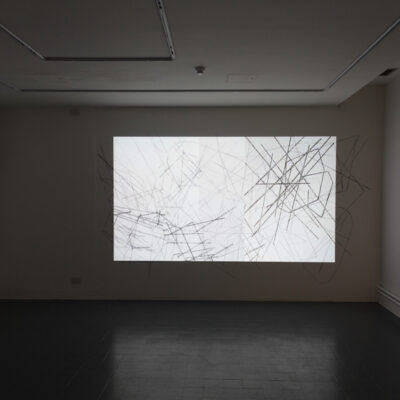 Felicity Clear, 'To calculate on the unforeseen', Wall drawing and Slide projection, 225 x 395 cm, 2014, Credit: Photography Roland Paschhoff