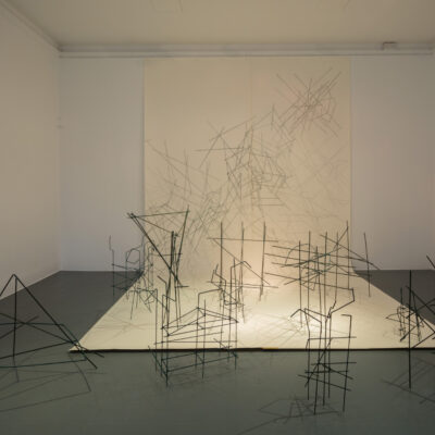 Felicity Clear, 'Here's the thing', Pencil on paper, wooden sticks, 500 x 270 cm, models variable dimensions, 2014,  Credit: Photography Roland Paschhoff