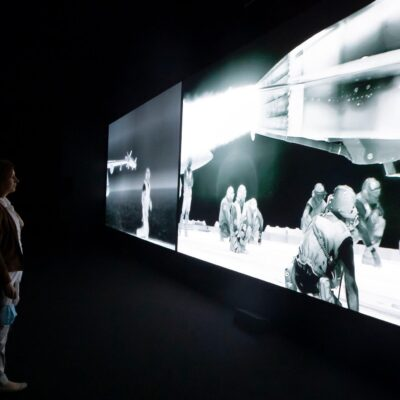 Richard Mosse, Installation Image 'Incoming' 2014-17, © Richard Mosse. Courtesy of the artist, Jack Shainman Gallery and carlier | gebauer. Photo credit: Patrick Browne