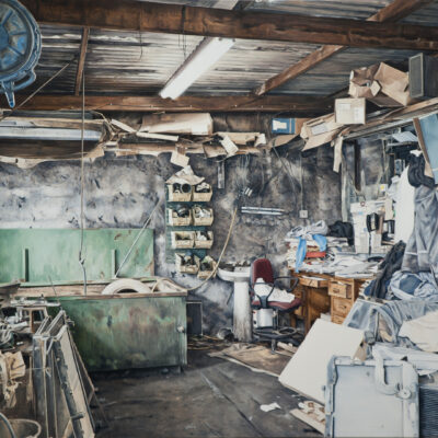 Kevin Cosgrove, 'Workshop With Desk', Oil on linen, 130 x 150cm, 2015, Credit: Photography Roland Paschhoff