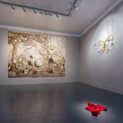 Nevan Lahart,' Overpainted Underpaint', 2017.  260 x 300cm. Courtesy Kevin Kavanagh Gallery. Hannah Fitz, 'Candelabra', 2017.  125 x 72cm. Photograph Roland Paschhoff