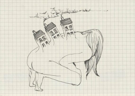 Aideen Barry, Untitled Study, Pen and ink on paper, 40.6 x 60.9 cm, 2009, On loan from Private Collection